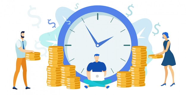 Pago de trabajo, salario plano ilustración vectorial
