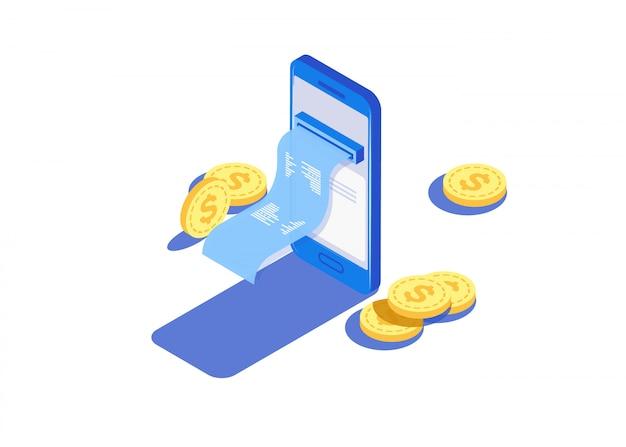 Pago a través de los pagos electrónicos en línea, teléfono inteligente.