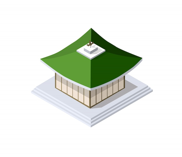 La pagoda china construye el arte budista de la casa de