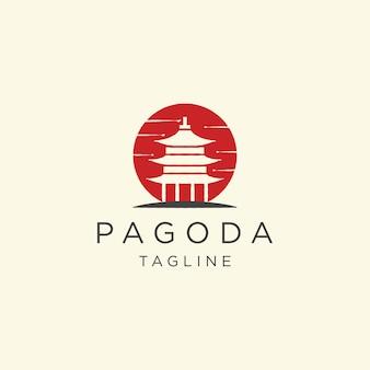 Pagoda, japón, templo, logotipo, icono, diseño, plantilla, ilustración