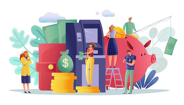 Pagos en cajeros automáticos personas cartel horizontal. ilustración horizontal multicolor sobre el tema retiro de pagos en cajeros automáticos y otras transacciones finanzas y negocios personas pequeñas alrededor de objetos símbolos bancarios