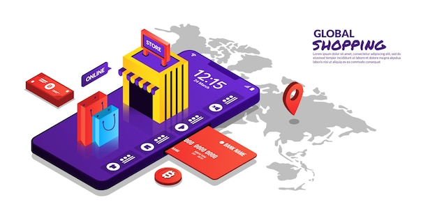 Pagos digitales del concepto global de compras en línea en diseño isométrico