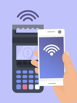 Pagos móviles cerca de la ilustración de tecnología de comunicaciones de campo. el terminal pos confirma el pago por teléfono inteligente.