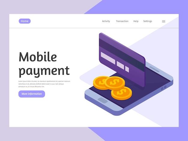 Pagos móviles concepto. transacciones de dinero, negocios, banca móvil y pago móvil. plantilla de página de destino.