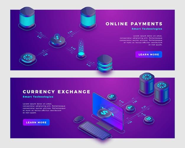 Pagos en la nube y plantilla de banner concepto de cambio de moneda.