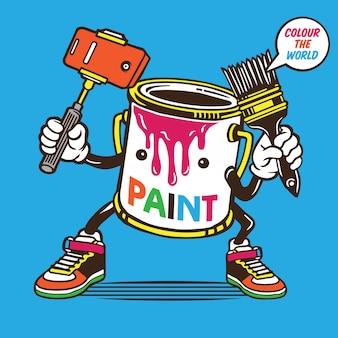 Paint bucket selfie character