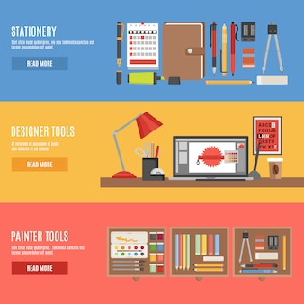 Painter and designer tools banner set