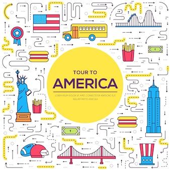 País estados unidos guía de vacaciones de viaje de mercancías. conjunto de arquitectura, alimentos, deporte, elementos, naturaleza.