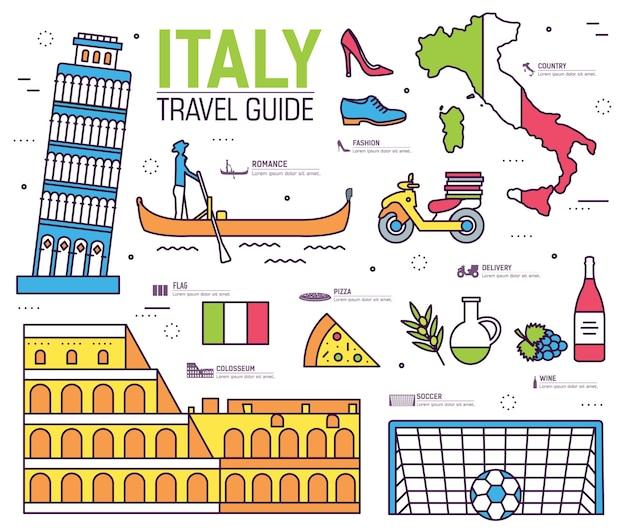 País italia guía de viaje de mercancías