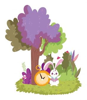 País de las maravillas, conejo y reloj de dibujos animados de arbusto de árbol