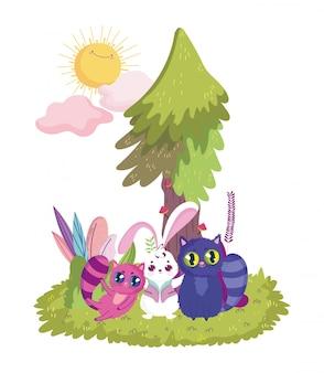País de las maravillas, gatos lindos y sol de árbol de hierba de conejo