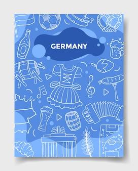 País de la nación de alemania con estilo de dibujo para la plantilla de pancartas, folletos, libros y la ilustración de vector de portada de revista