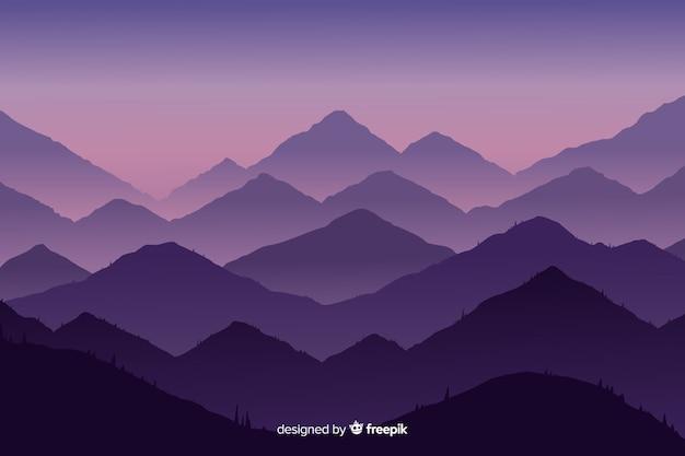 Paisaje abstracto de las montañas en diseño plano