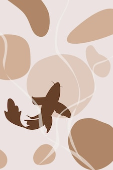Paisaje abstracto con peces carpa koi silueta cartel abstracto stock vector diseño de interiores