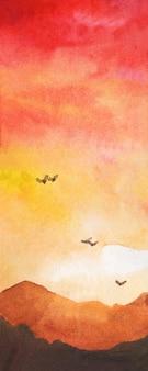 Paisaje de acuarela con aves de montaña volando en la puesta de sol