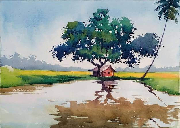 Paisaje de acuarela dibujada a mano con ilustración de árbol y lago