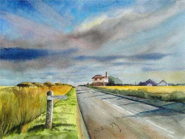 Paisaje de acuarela con ilustración de carretera y cielo