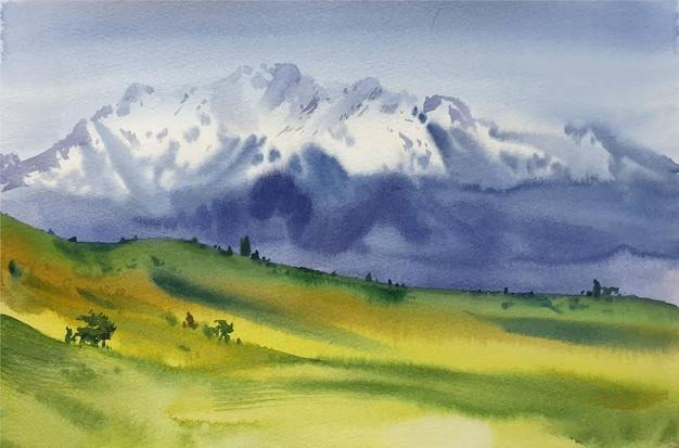 Paisaje de acuarela con montañas en la ilustración de la escena de la mañana