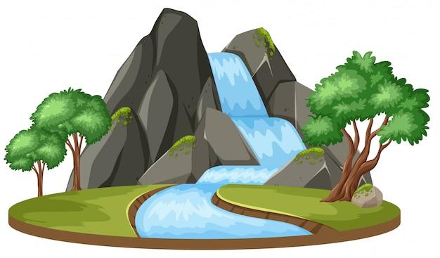 Paisaje aislado de la caída del agua