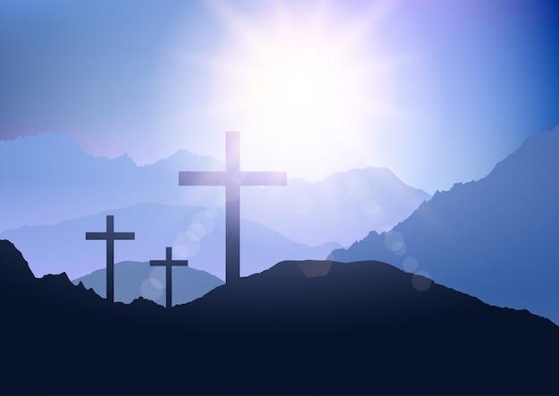 Paisaje al atardecer con cruz para pascua
