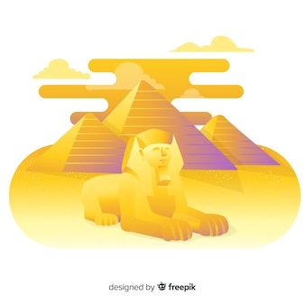 Paisaje del antiguo egipto con diseño plano
