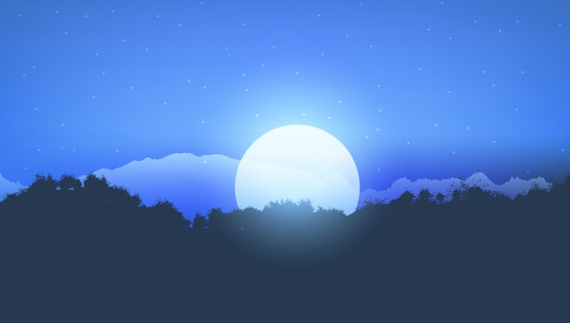Paisaje de árbol de luz de la luna