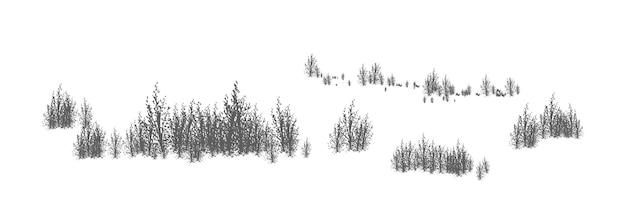 Paisaje arbolado con siluetas de árboles y arbustos de hoja caduca. panorama horizontal con matorral de plantas forestales. elemento de diseño decorativo en colores blanco y negro. ilustración de vector monocromo.