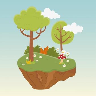 Paisaje árboles flores vegetación vegetación naturaleza follaje ilustración