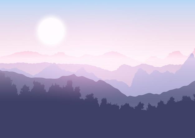 Paisaje de arboles y montañas.