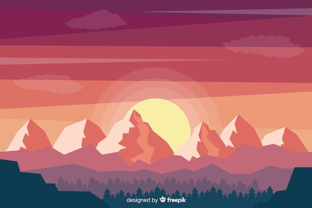 Paisaje de arboles y montañas