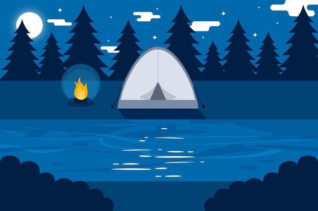 Paisaje de área de camping de diseño plano con carpa en la noche