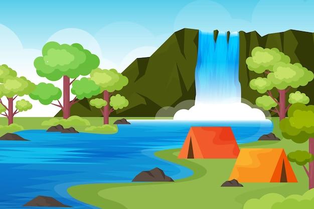 Paisaje de área de camping de diseño plano con carpas y cascada.
