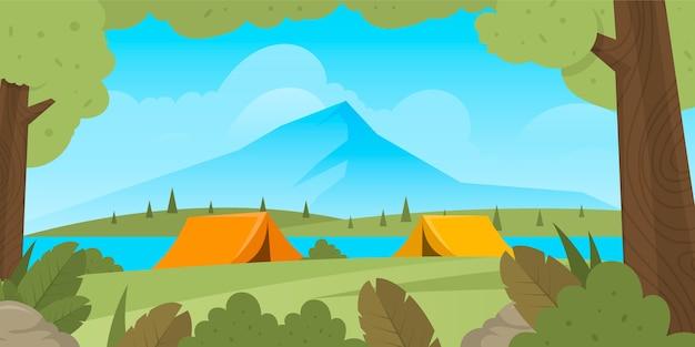 Paisaje de área de camping de diseño plano con carpas y montaña.