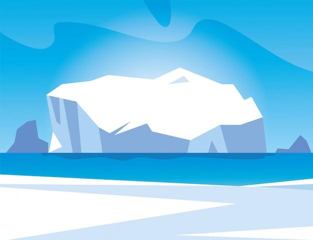 Paisaje ártico con cielo azul e iceberg, polo norte