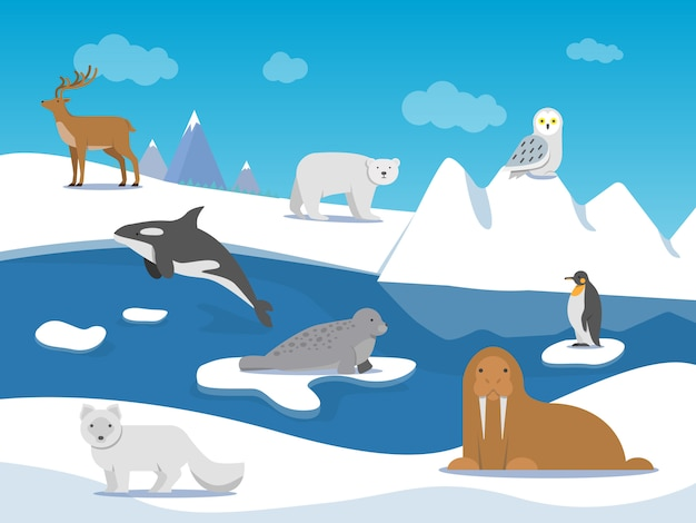 Paisaje ártico con diferentes animales polares.