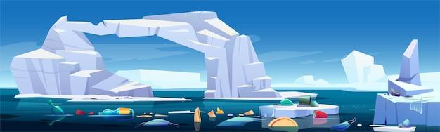 Paisaje ártico con iceberg derretido y basura plástica flotando en el mar