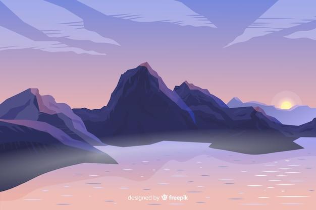 Paisaje artístico de montañas de gradiente