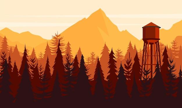 Paisaje del atardecer en un bosque de montaña con una torre de agua