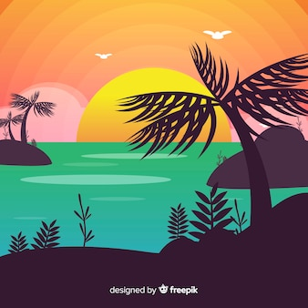 Paisaje de atardecer en la playa con degradado