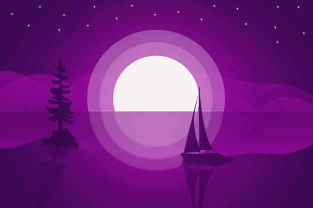 Paisaje la atmósfera de la amalgama en un hermoso lago púrpura