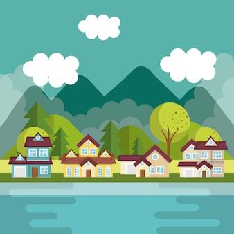 Paisaje con barrio y escena del lago.