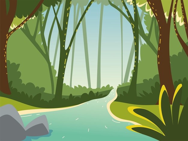 Paisaje bosque agua fronda piedras