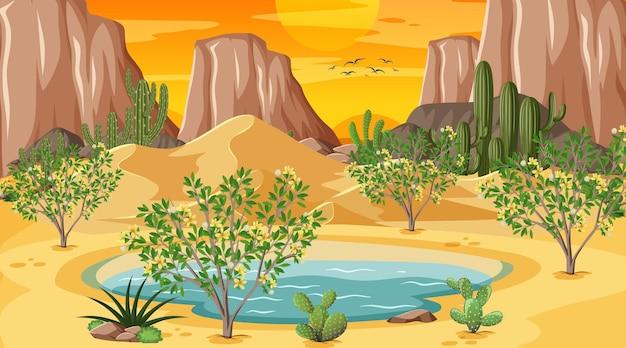 Paisaje de bosque desértico en la escena del atardecer con oasis