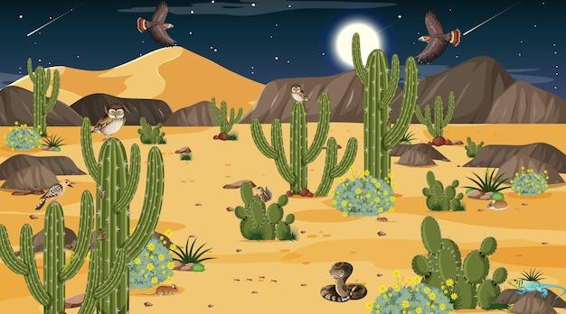Paisaje de bosque desértico en la escena nocturna con animales y plantas del desierto