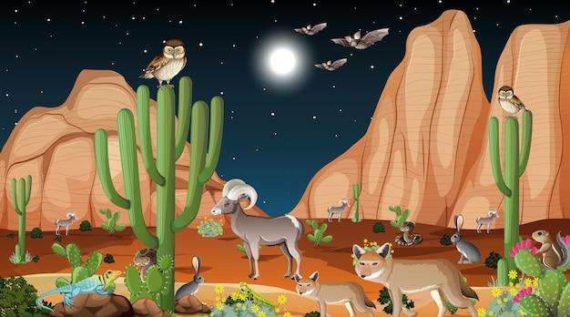 Paisaje de bosque desértico en la escena nocturna con animales salvajes.