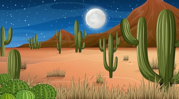 Paisaje de bosque desértico en la escena nocturna con muchos cactus