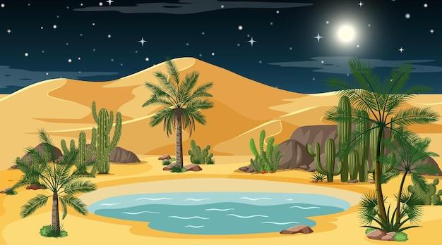 Paisaje de bosque desértico en la escena nocturna con oasis