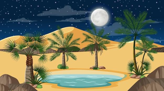 Paisaje de bosque desértico en escena nocturna con pequeño oasis