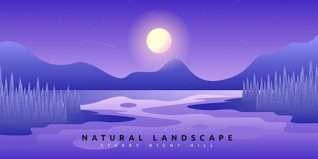 Paisaje de bosque de fantasía con ilustración de cielo nocturno