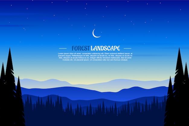 Paisaje de bosque de madera de pino con cielo azul y la ilustración de la noche estrellada